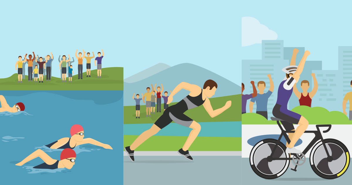 image shows three stages of a triathlon, including swimming, running and cycling