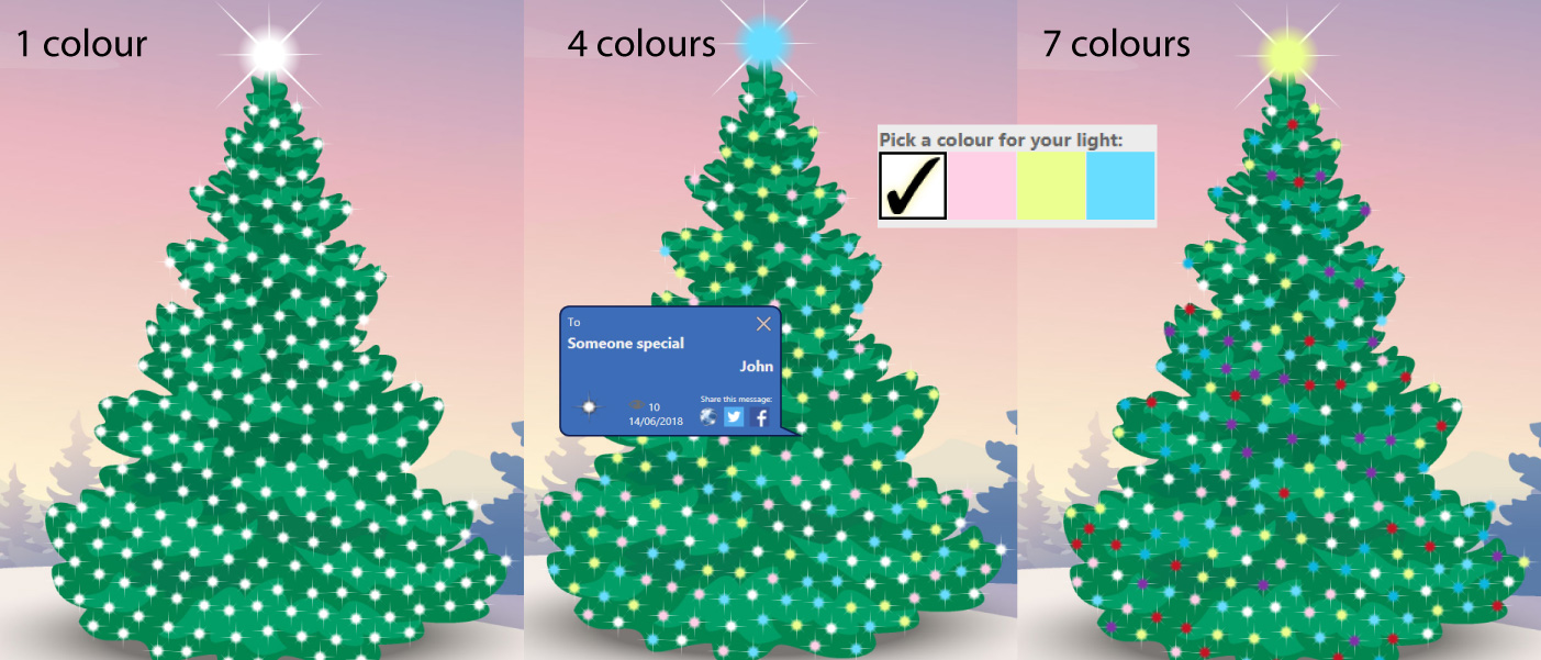3 virtual christmas trees with different colourful lights