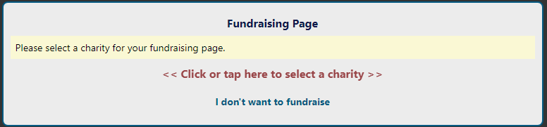 Form showing where to click to choose a charity for your Visufund fundraising page