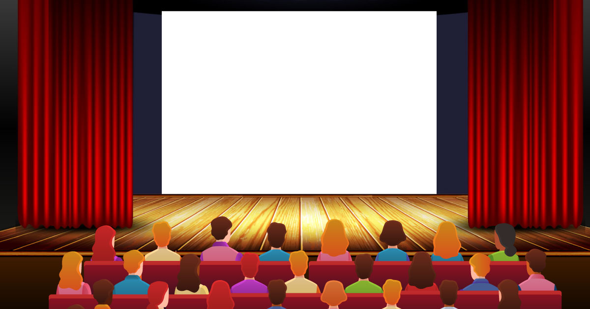 audience looking towards a large screen in a virtual theatre