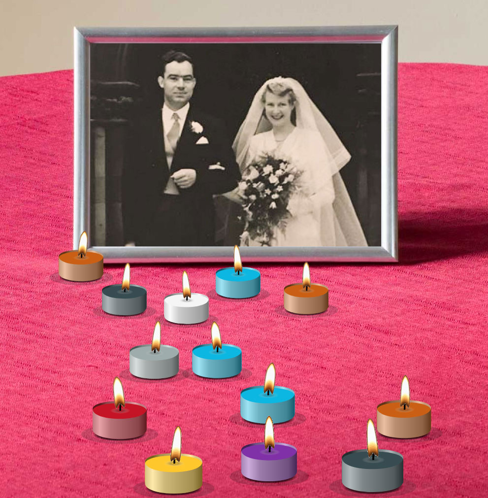 a photo of a couple on their wedding day, with virtual candles lit around it