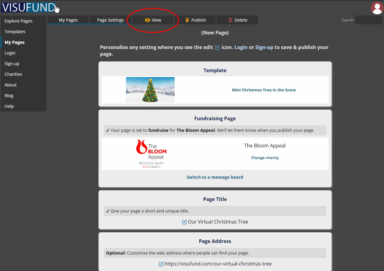 example of page settings, with circle to show location of View button