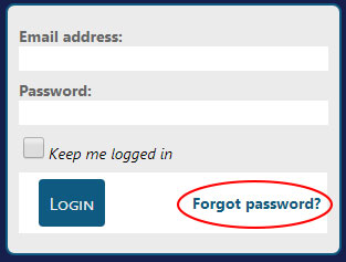 image of login screen with forgot password shown in a circle