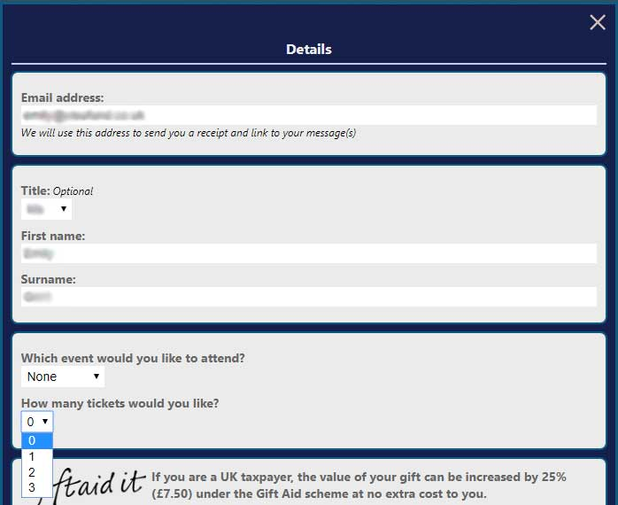 example of additional questions shown on donation form