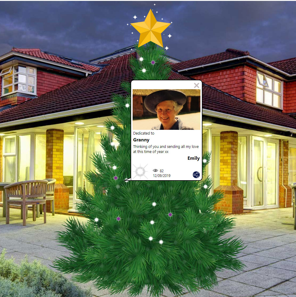 virtual christmas tree with lights shining in memory of loved ones.