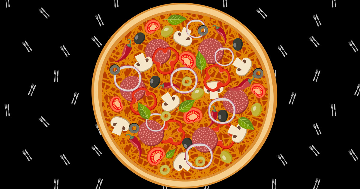 pizza with various toppings