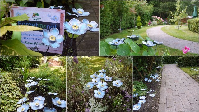 Image shows a collage of pictures of Woodlands Hospice gardens featuring blue iron flowers. Each flower has been dedicated in the name of a loved one, in exchange for a donation to the hospice.