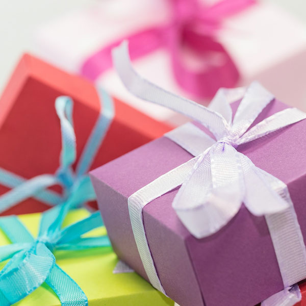 a selection of colourful presents and gifts