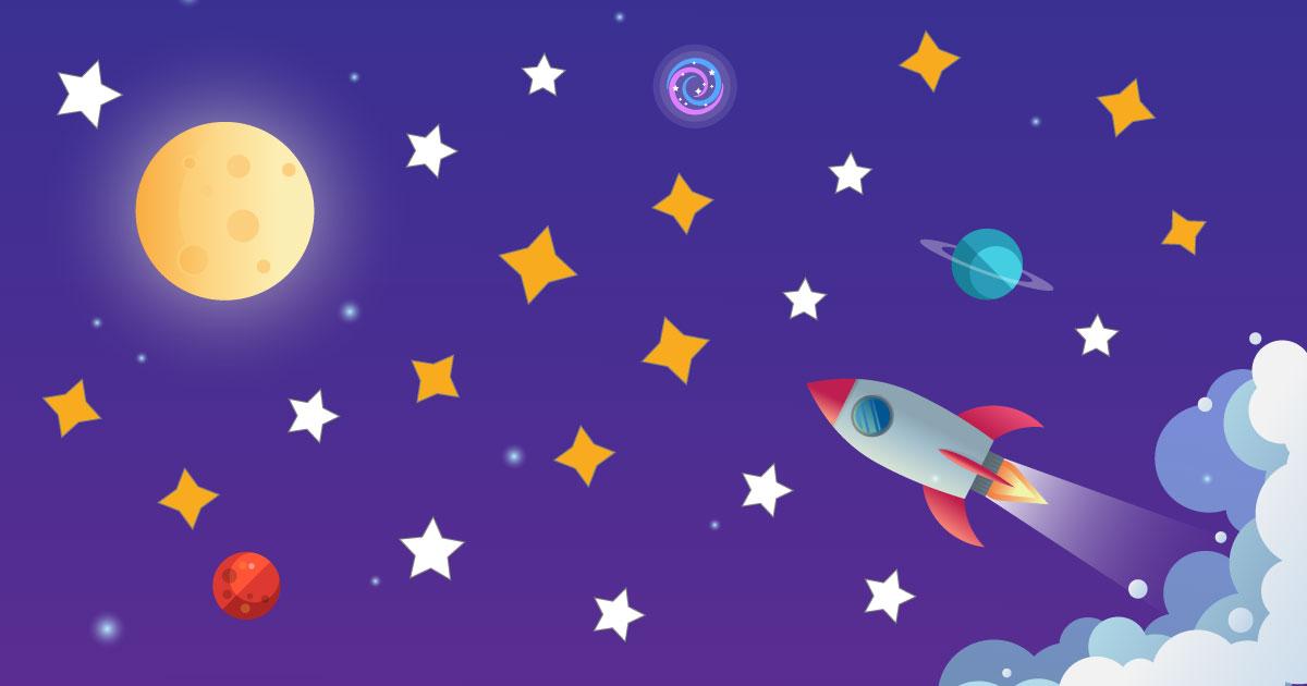 rocket heading towards moon with colourful stars in background