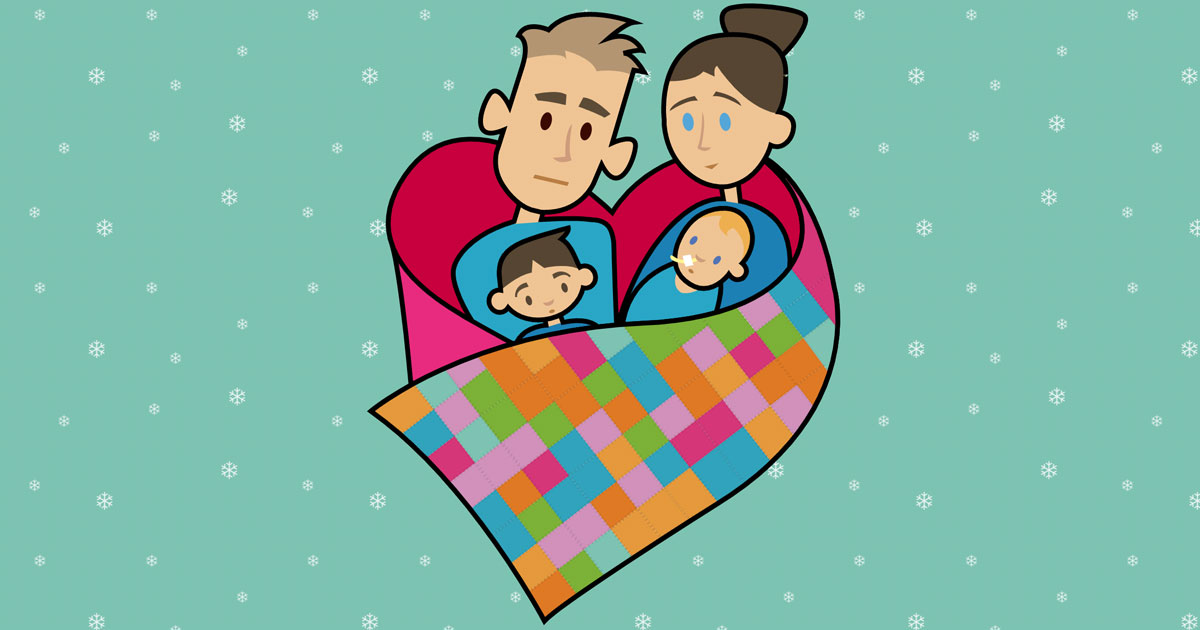 example of design a template, showing an image of a your family being wrapped in a patchwork blanket of support