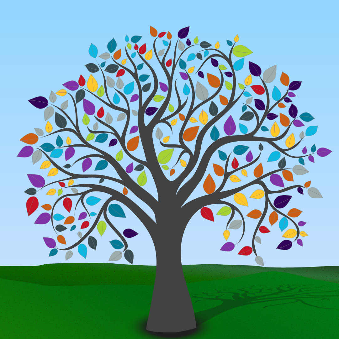 A colourful virtual tree featuring different coloured leaves