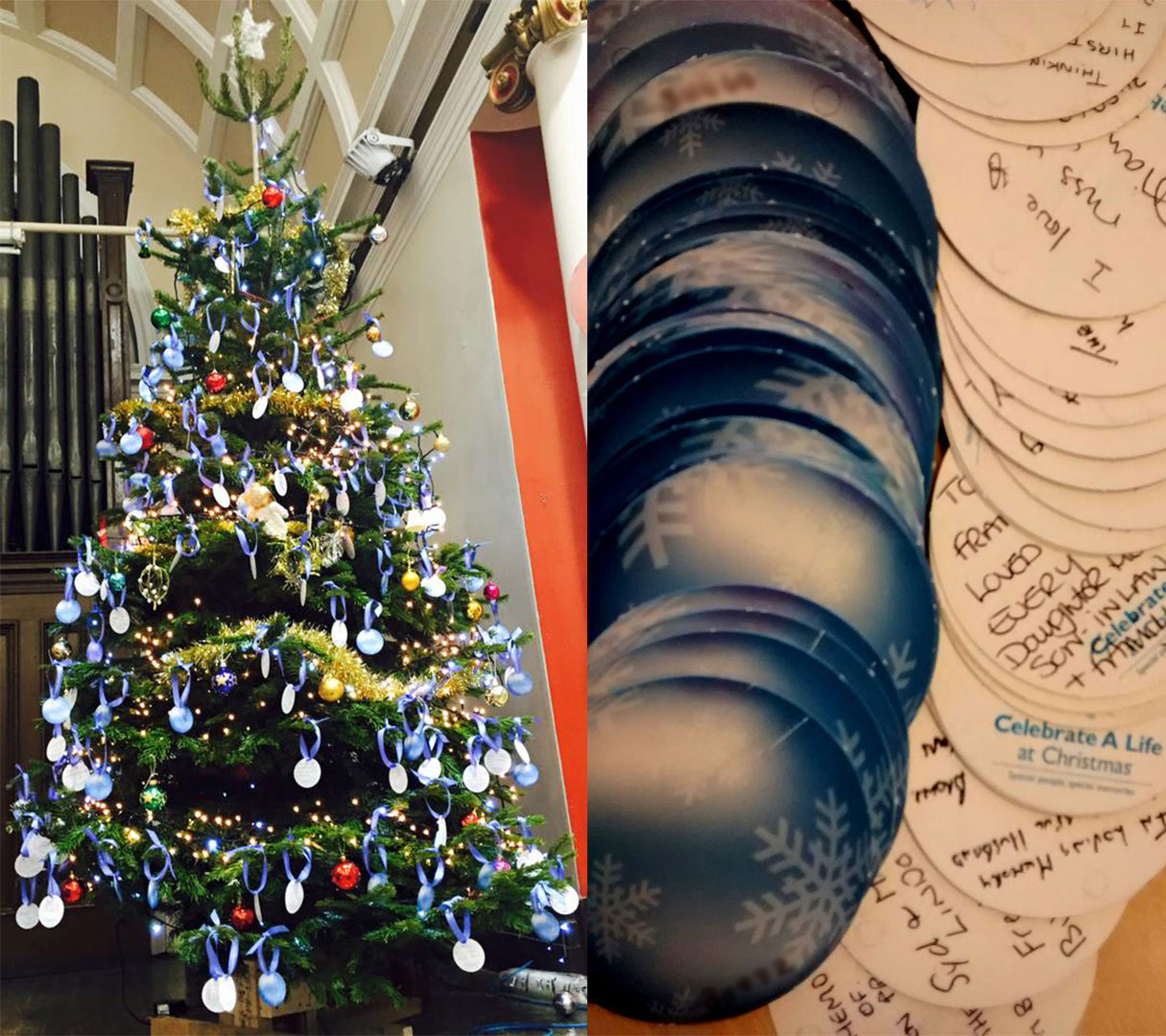 Image shows a Christmas tree decorated with bright blue tags featuring the names of loved ones who have lost their lives to lung cancer.