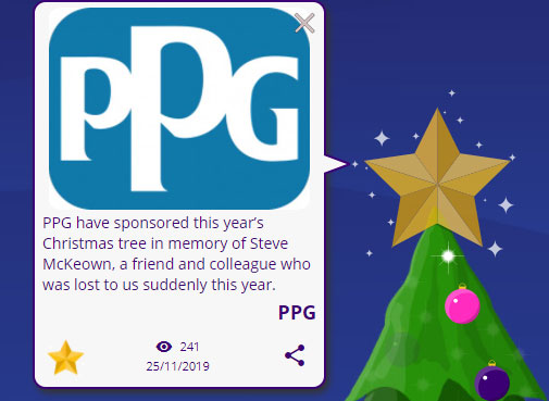 PPG company logo attached to a message on top star of a virtual Christmas tree