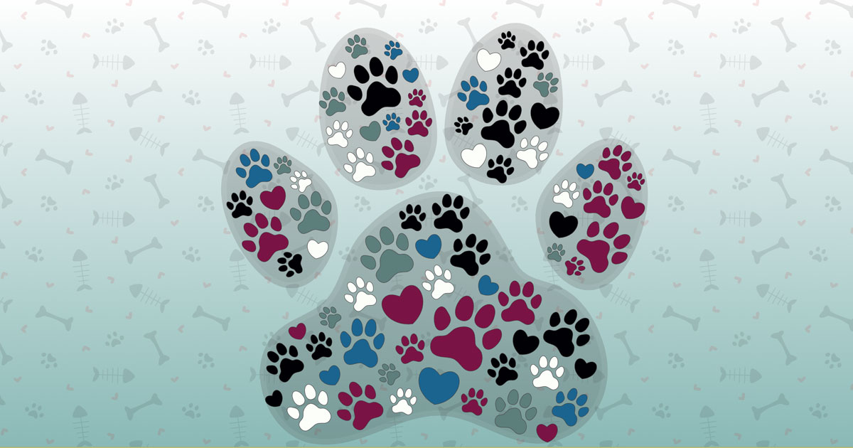 paws and hearts form the shape of a large paw print