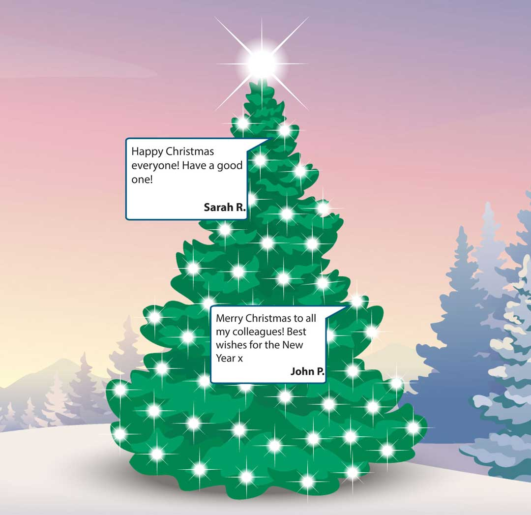 virtual christmas tree with messages